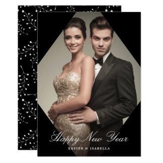 Moderner Eleganz-neues Jahr-Foto-Feiertag 12,7 X 17,8 Cm Einladungskarte