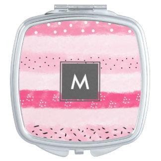 moderner Farbblock stripes weiße rosa Brushstrokes Taschenspiegel