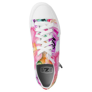 Moderner heller bunter Frühlings-BlumenAquarell Niedrig-geschnittene Sneaker