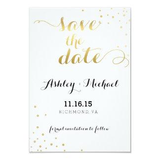 Moderner Imitat-Goldfolien-Glamour Save the Date 8,9 X 12,7 Cm Einladungskarte