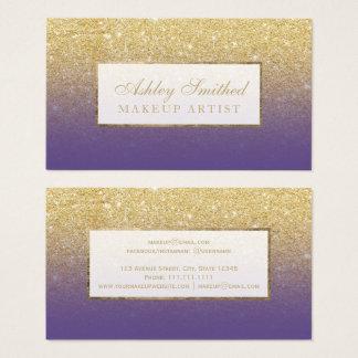 Moderner ImitatgoldGlitter lila ombre Make-up Visitenkarte