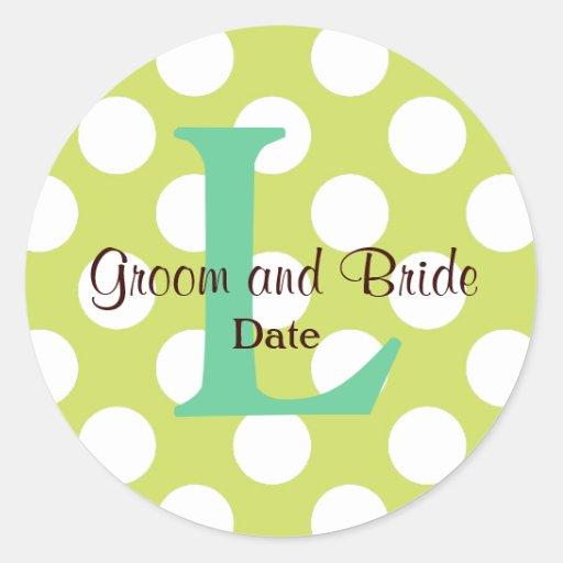 Moderner Küsten-Hochzeits-Monogramm-Aufkleber