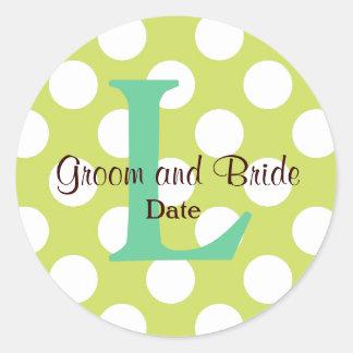Moderner Küsten-Hochzeits-Monogramm-Aufkleber Runder Aufkleber