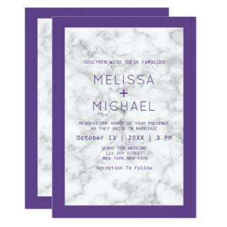 Moderner Marmor und lila Hochzeit Karte