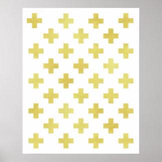 Moderner Minimalist Goldfoliendes schweizer Poster