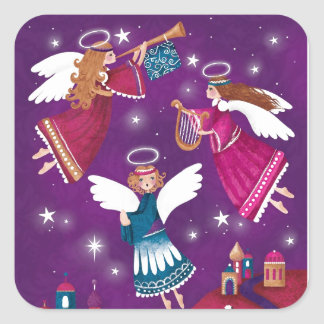 Moderner religiöser Chritmas, drei Engel Quadratischer Aufkleber