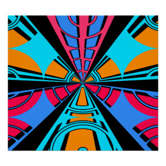 Moderner rosa blauer Halbrundentwurf Poster