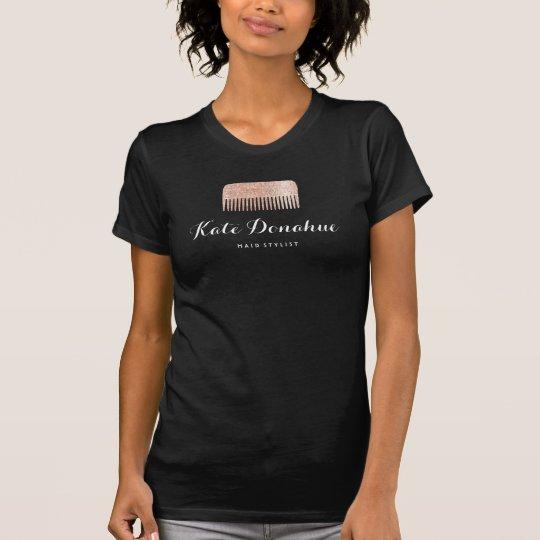 Moderner Rosen-Goldsequin-Kamm-Haar-Stylist-Salon T-Shirt