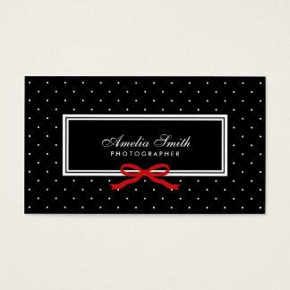 Moderner schwarzer Tupfen-rote Band-sozial-Medien Visitenkarte