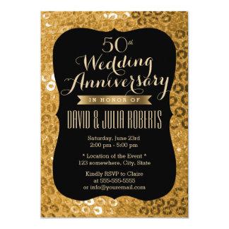 Moderner Schwarzes u. GoldPaillettes Hochzeitstag 12,7 X 17,8 Cm Einladungskarte