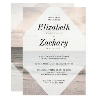 Moderner Strand-Hochzeits-Diamant 12,7 X 17,8 Cm Einladungskarte