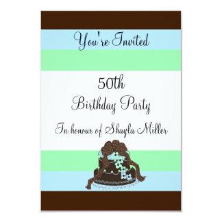 Moderner Streifen-fünfzigste Geburtstags-Einladung 8,9 X 12,7 Cm Einladungskarte