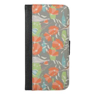 Moderner Vintager BlumenCoquelicot verlässt Muster iPhone 6/6s Plus Geldbeutel Hülle