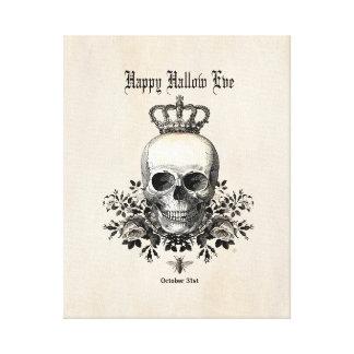 Moderner Vintager Halloween-Schädel mit Krone Leinwanddruck