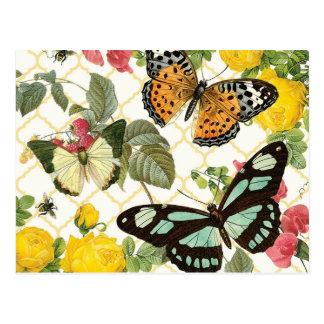 moderner Vintager Schmetterlingsgarten Postkarte