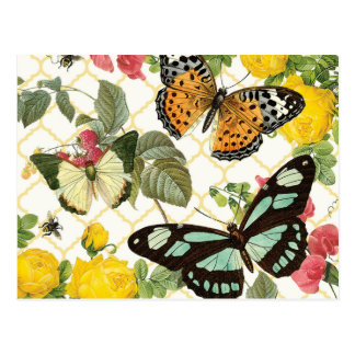 moderner Vintager Schmetterlingsgarten Postkarten