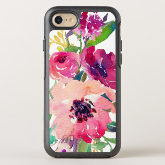 Moderner Watercolor-rosarote Mit BlumenRosen OtterBox Symmetry iPhone 8/7 Hülle
