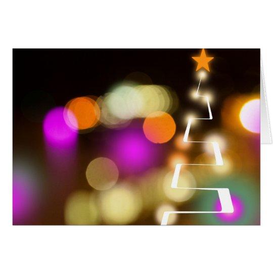 Moderner Weihnachtsbaum und Lichter Grußkarte