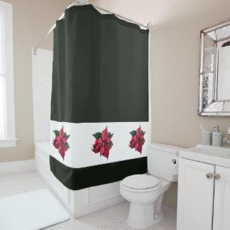 Moderner Weihnachtspoinsettia-Duschvorhang Duschvorhang
