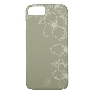 Moderner weiser Blumenmonogramm iPhone 7 Fall iPhone 8/7 Hülle