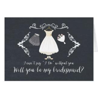 Moderner Wille sind Sie meine Brautjungfer Mitteilungskarte
