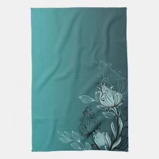 Modernes abstraktes aquamarines Blumen Handtuch