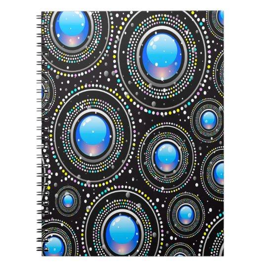 Modernes abstraktes schwarzes und blaues Muster Spiral Notizblock