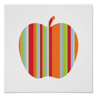 Modernes Apple mit Rotem u. Orange Stripes Plakat