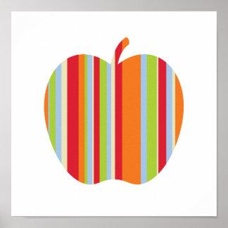 Modernes Apple mit Rotem und Orange Stripes Plakat