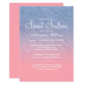 Modernes Blau errötet rosa Imitat-Glitter 16. 12,7 X 17,8 Cm Einladungskarte