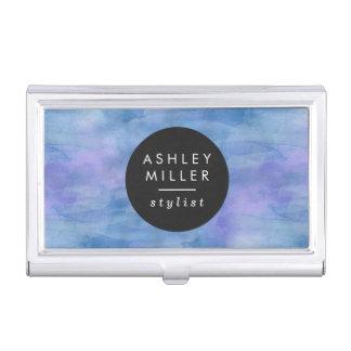 Modernes blaues Aquarell Visitenkarten-Dosen