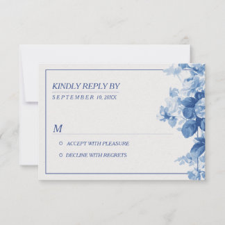 Modern Blue Floral Watercolor Wedding RSVP
