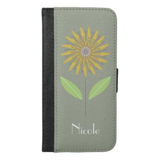 Modernes Blumen-Gelb-kundenspezifische iPhone 6/6s Plus Geldbeutel Hülle
