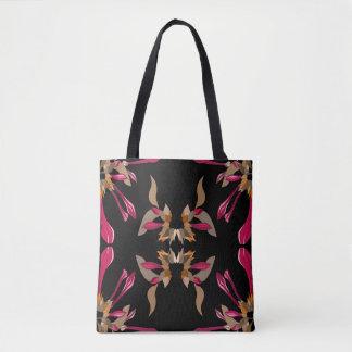 Modernes Blumenschwarzes und Cyclamen Tasche