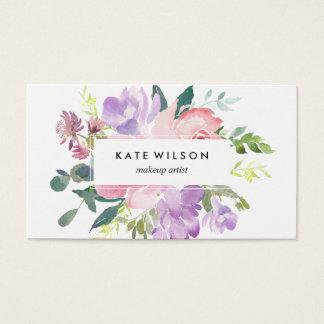 Modernes Blumenwatercolor-Rosa-lila Blume Visitenkarte