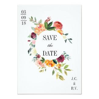 Modernes botanisches BlumenSave the Date Wedding Karte