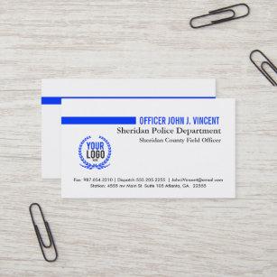 Modernes dünnes Blue Line überwachen Weiß mit L Visitenkarte