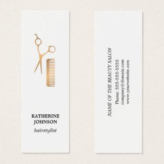 Modernes elegantes weißes Imitat-Gold Scissors Mini-Visitenkarten