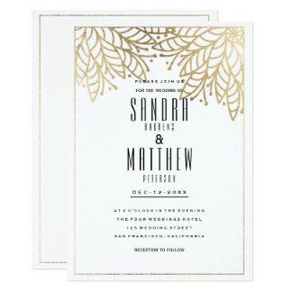Modernes elegantes weißes Imitatgoldblumenhochzeit Karte