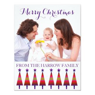 Modernes Familien-Weihnachtsgrüßende lila 10,8 X 14 Cm Einladungskarte