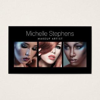 Modernes Foto-Trio für Make-upkünstler-Schwarzes Visitenkarte