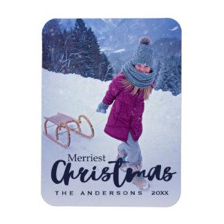 Modernes frohste Weihnacht-Skript-Feiertags-Foto Magnet