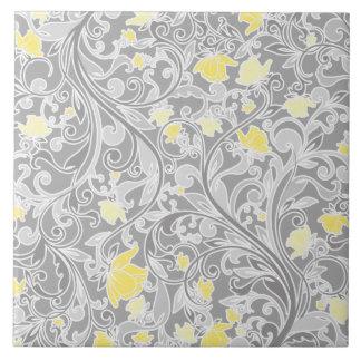 Modernes gelbes und graues Wirbles Blumen Keramikfliese