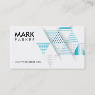 Modern Geometric with Blue Triangles Business Card