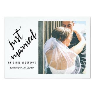 Modernes gerade verheiratetes handgeschriebenes 12,7 x 17,8 cm einladungskarte