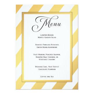 Modernes Gold Stripes Hochzeits-Menü 14 X 19,5 Cm Einladungskarte