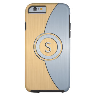 Modernes Gold-und Silber-Monogramm Tough iPhone 6 Hülle