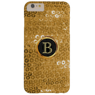 Modernes Goldfolie Paillettes Monogramm Barely There iPhone 6 Plus Hülle