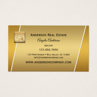 Modernes Goldlogoberuflicher Realtor Businesscard Visitenkarte