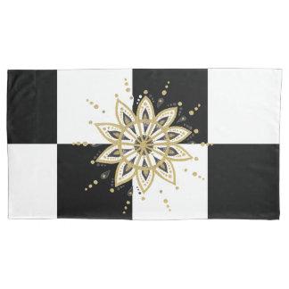 Modernes Goldschwarze u. weiße Mandala Kissenbezug